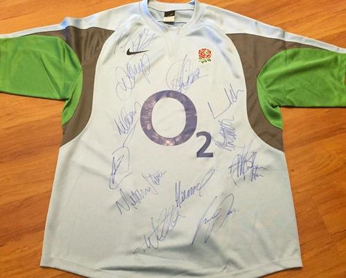 Camisa Inglaterra Rugby Mundial 2011 Com Várias Assinaturas