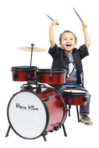 Bateria Infantil Rock Kids, Com Banco,prato E 1 Par Baquetas