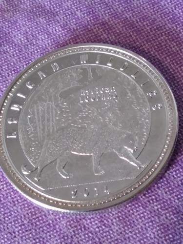 Moneda De Zambia 1000 Kwacha 2014 Baño De Plata Leopardo