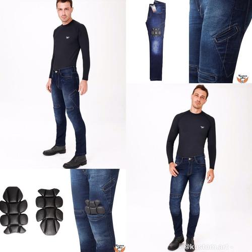 Calça Jeans Com Proteção Para Motociclista Kustom Art