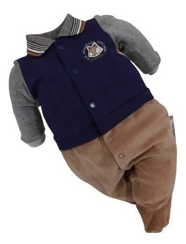 Macacão Longo Plush Luxo Bebê Menino Paraiso Inverno R 11575