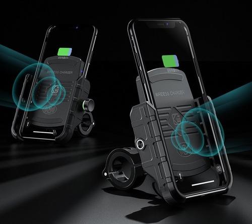 Suporte Com Carregador Sem Fio Wireless P Moto Em Alumínio