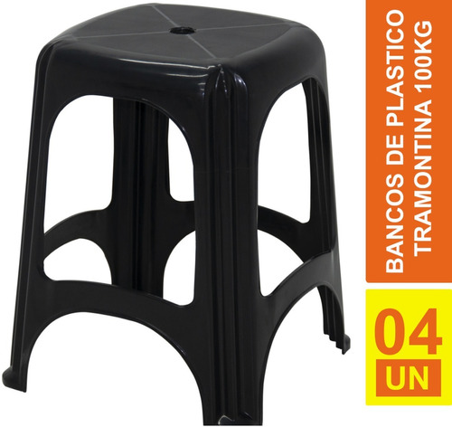 Kit 4 Bancos Plastico Banqueta Suporta Até 120 Kg Tramontina