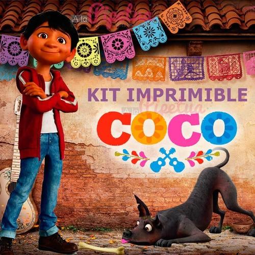 Kit Fiesta Imprimible Coco Disney Invitacion Cotufera