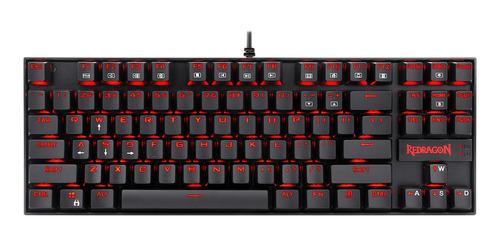 Teclado Gamer Redragon Kumara K552 Qwerty Outemu Blue Español Latinoamérica De Color Negro Con Luz Roja