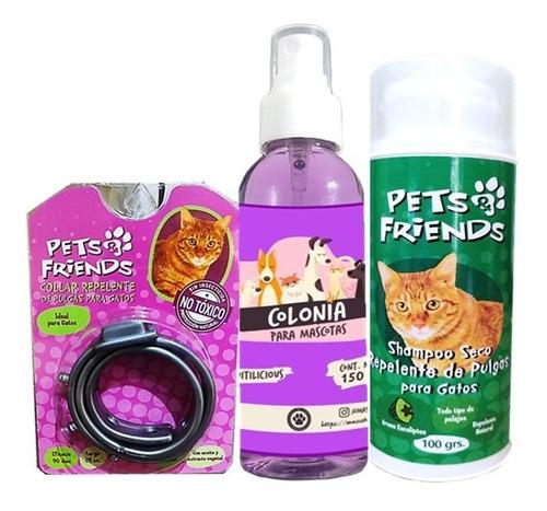 Kit Para Gato Collar +anti Pulgas +colonia +shampoo