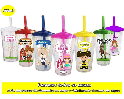 Kit C/ 20 Copos Twister Personalizado Lembrancinha Infantil