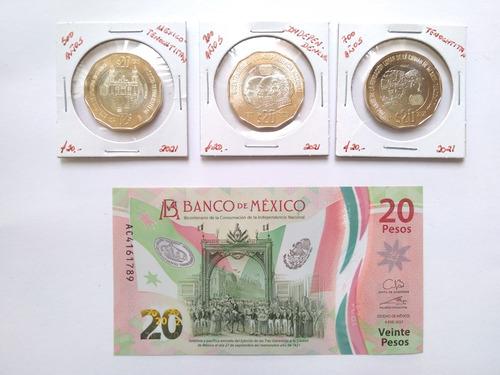 Billete & 3 Moneda México 2021 Independencia Tenochtitlan