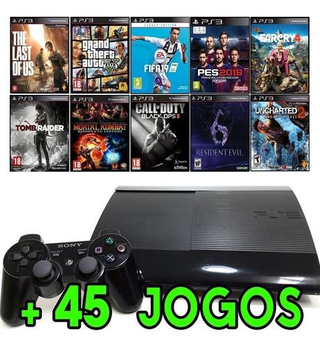 Ps3 Super Slim + Gta5 + Fifa 19 + Pes 2018 + The Last Of Us