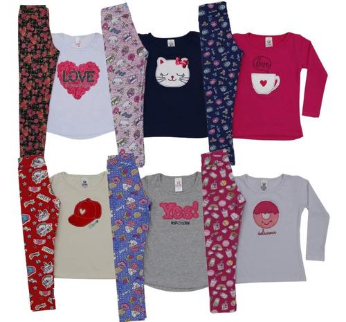 Blusa De Frio + Legging Menina 3 Conjuntos Infantis Promoção