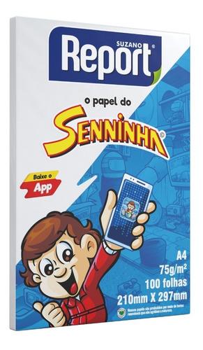 Papel Sulfite Branco Senninha Suzano Report A4 100 Folhas