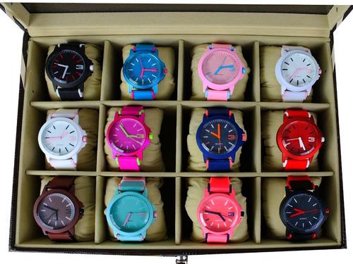 Kit 10 Relógios Feminino Esportivo Silicone Atacado+caixa