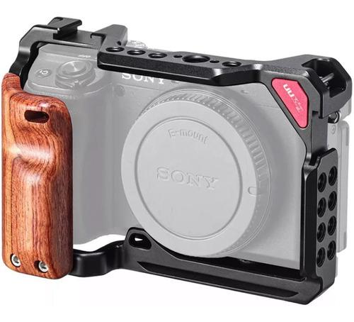 Cage Para Sony A6400 A6500 A6300 A6000 Com Grip De Madeira