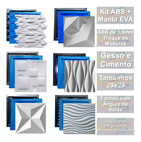 6 Formas Pra Placa Gesso 3d E Cimento+eva Abs 1,3mm Escolha