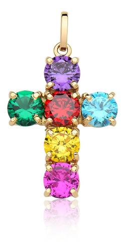 Pingente Cruz Pedras Coloridas Rainbow Ouro Puro 10k Pr100