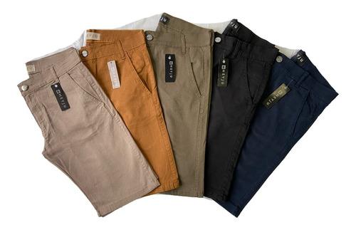 Kit 4 Bermudas Masculinas De Sarja Colorida Com Lycra Shorts