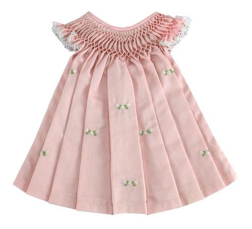 Vestido Casinha De Abelha Fustão Rosa Bordado