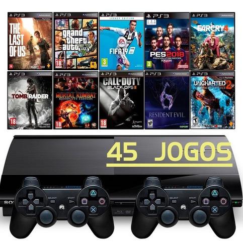 Ps3 Super Slim + 2 Controles + Fifa 19 + Gta5 + Call Of Duty