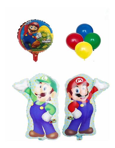 Globos Súper Mario Bros Mario Y Luiggi Y 20 Látex