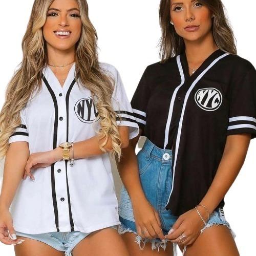 Blusão Camisa Camisão Feminina Baseball Com Botões Nyc
