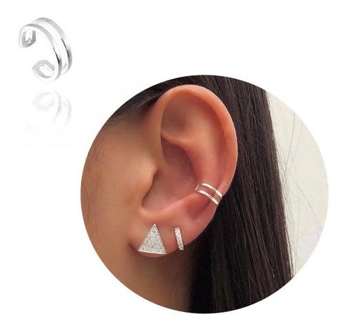 Piercing Pressão Fake Orelha Ear Em Prata 925 Maciça 2 Fios