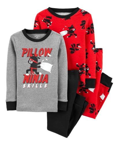Kit Pijama 4 Pçs Menino Menina Calça E Blusa Long Algodão - Carters