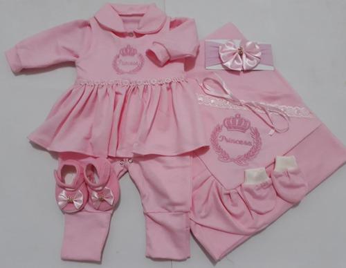 Saída Maternidade Luxo 6 Peças 100% Algodão Menina