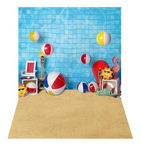 Fundo Fotográfico Praia Verão Piscina Tecido 2, 2x1, 5 C 254