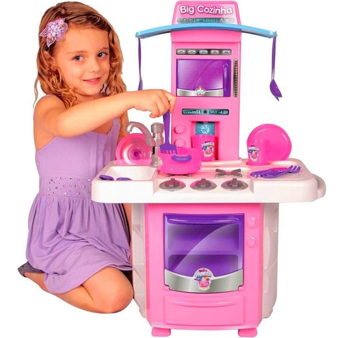 Cozinha Infantil Completa Rosa Com Pia Fogão Forno Sai Água