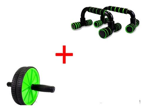 Barra Chão Flexão + Roda Abdominal Fitness