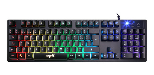 Teclado Gamer Nisuta Nskbg5rl Qwerty Español España De Color Negro Con Luz Rgb
