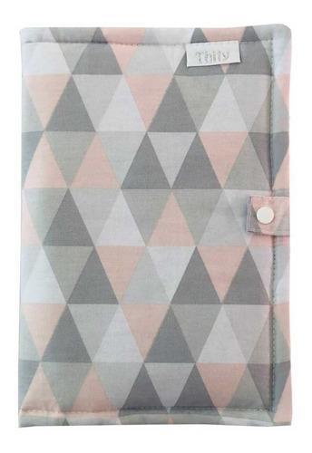 Porta Caderneta De Vacinação - Triângulo Rosa - 100% Algodão