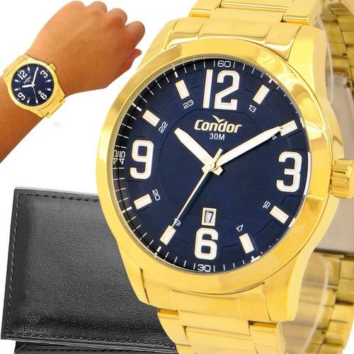 Relógio Masculino Dourado Condor Prova D'água Com Garantia