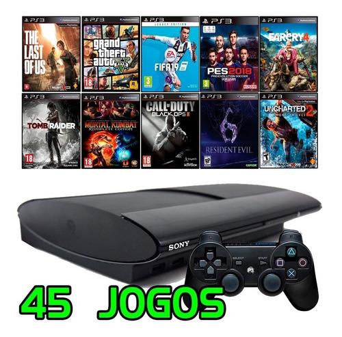 Ps3 Super Slim + Gta5 + Fifa 19 + Pes 2018 + Call Of Duty