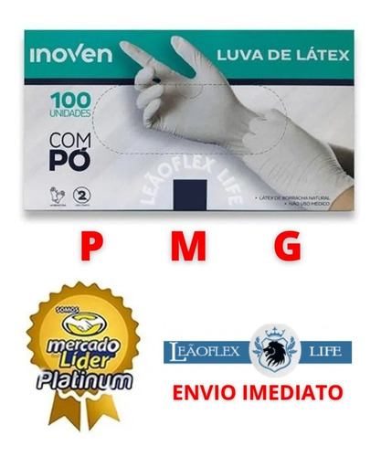 Luva Látex Procedimento Descartável P M G -caixa C/ 100 C-po