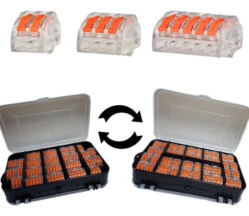 Caixa 65 Conector Tipo Wago 222 Borne Emenda Fios 2,3,5 Vias