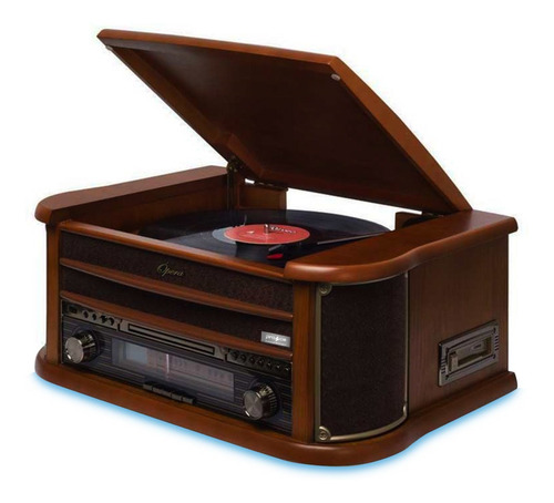 Vitrola Toca Discos Raveo New Opera Com Rádio Cd K7 Usb Bt