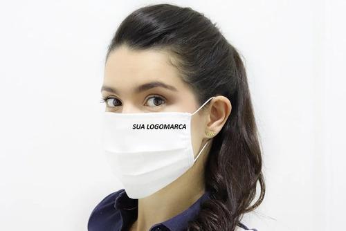 100 Mascaras Personalizada Sua Logo Tecido  Dupl Proteção