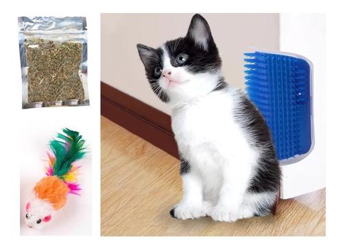 Escova Pet Massagem Tira Pelos Gatos Parede + Erva E Rato