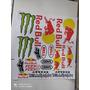 Kit Adesivo Red Bull Monster Fox Para Capacete Moto Ou Carr