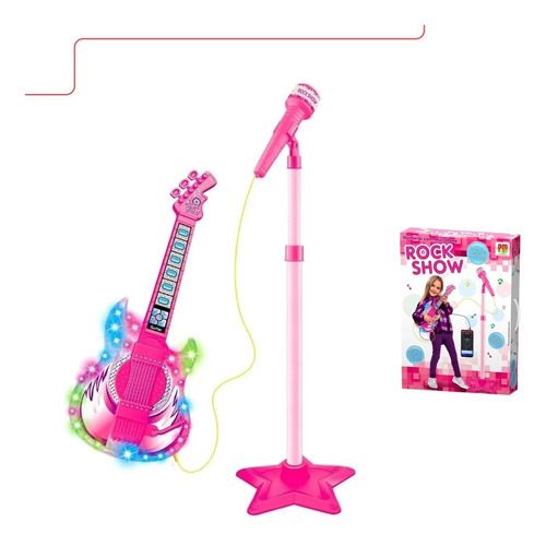 Guitarra Com Microfone Pedestal Infantil - Rock Show