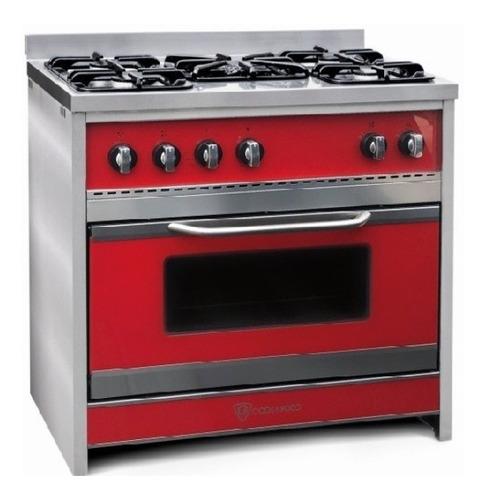 Cocina Tst Chiara A Gas/eléctrica 5 Hornallas  Roja Puerta  Con Visor