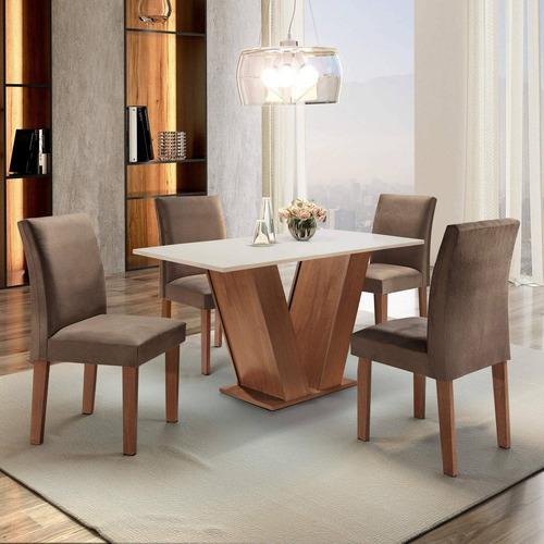 Mesa De Jantar Tampo Mdf 4 Cadeiras Espanha Espresso Fc