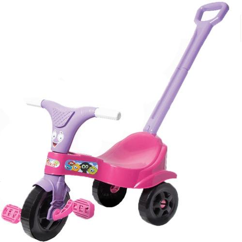 Triciclo Infantil Motoca Rosa Menina C/ Empurrador