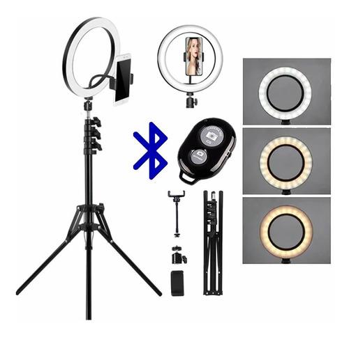 Ring Light 26cm Com Tripé De 2m E Controle Bluetooth Foto