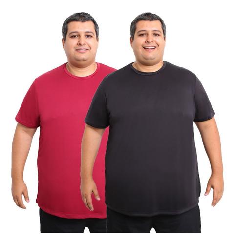 Kit 2 Camisetas Plus Size Dry Fit Poliéster Corrida Academia