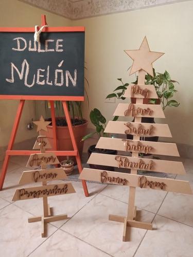 Pinos De Navidad De Fibrofácil Con Frases Para Pintar