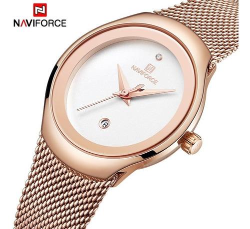 Relógio Feminino Naviforce 5004+estojo+carteira De Brinde
