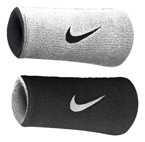 Munhequeira Nike Grande Dri-fit Dupla Face - Branco Com Pret