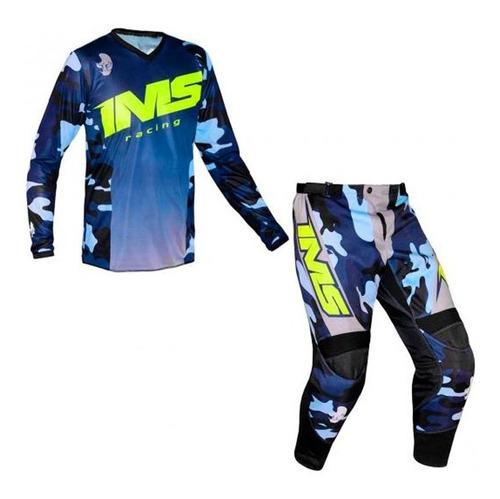 Conjunto Roupa Ims Army 2021  Camo Azul Motocross Kit Trilha